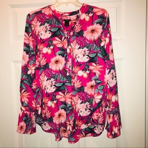 Ann Taylor Pink Floral Ruffle Long Sleeve Blouse